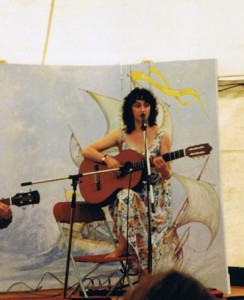 singing barefoot at the Pontardawe International Folk Festival, Wales, August 1994