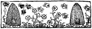 Medieval woodcut; a detail from The Birds; the Headpiece from Cantipratanus, Der Bien boeck, Zwolle 1488.