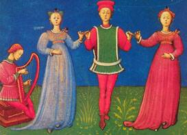 Illumination from an Italian treatise by Guglielmo Ebreo of Pesaro: De pratica seu arte tripudii ('On the practice or art of dancing'), 1463