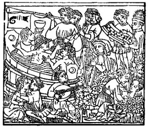 Medieval woodcut: the influences of the planet Venus; from the block-book The Planets, Heidelberg, 1470-75